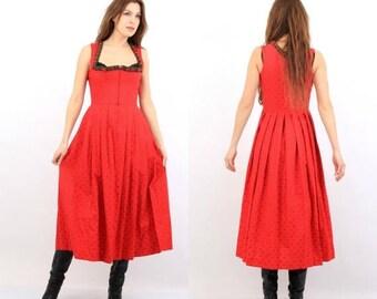 SALE Vintage Red Dress / Trachten Dress / Dirndl Dress / Hasegg Dress / Austrian Dress / Red Sarafan / Folk Dress / Traditional Dress / Coun