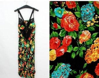 SALE Vintage Floral Dress / Summer Dress / Long Summer Dress / Sleeveless Dress / XL Dress / Extra Large Dress / Day Dress / Beach Dress / D