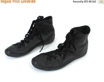 SALE 90s Converse / Leather Converse / Black Converse / US 6 Sneakers / Vintage Sneakers / Leather Sneakers / Boy Sneakers / Girl Sneakers