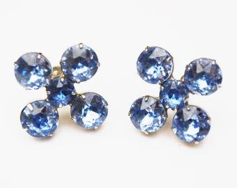 Blue Rhinestone EArrings - Light bluish glass crystal - silver - flower floral - Wedding bride -screw back earrings