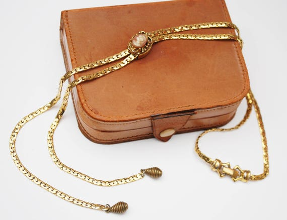 Goldette Ajustable Slider Cameo necklace - gold chain -  Victorian Revival Tassel bolo tie necklace