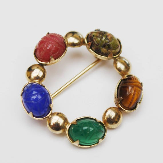 Round Wreath Brooch -  Carved Scarab Gemstone  - 12 kt gold plated - Carnelian - Green Blue Chalcedony Tiger Eye - green moss Agate
