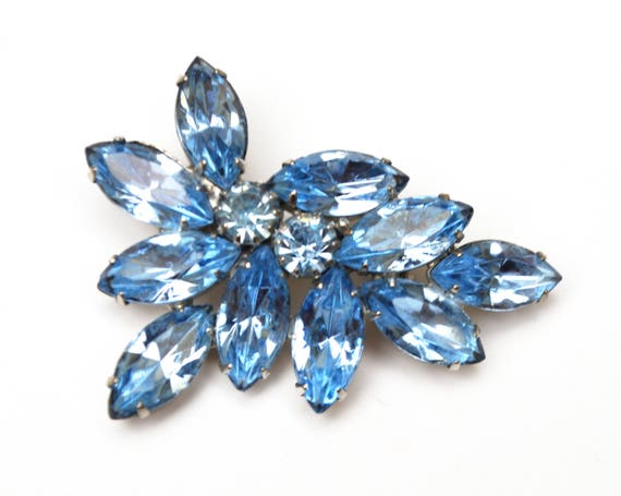 Light Blue Rhinestone Brooch  - Flower Leaf floral  pin - silver tone - mid century