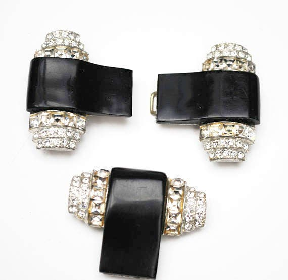 Art Deco Rhinestone Belt Buckle and Dress Clip - Black Lucite - Clear stones
