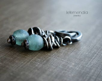 Recycled Glass and Silver Earrings Pale Seafoam Green Aqua Artisan Silver Jewelry Dangle Dangling by Letemendia Jewelry Earrings