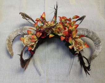 Fairy/pagan rams horn, feather and flower headdress -handmade one of a kind - red, orange and cream