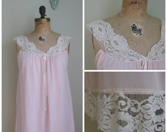 Summer Clearout Vintage Pink Nightie with lace shoulder detailing// 1960's