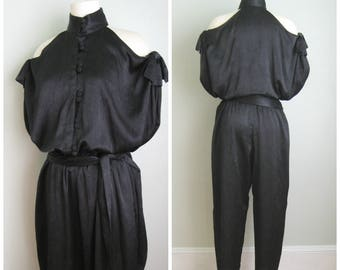 1980's Black Shoulderless Jumpsuit// High Neck// Button down