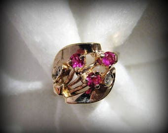 Vintage/Retro 14k ROSE GOLD, Diamond and Pink Ruby Ring -- 4.4 Grams, Size 6, Gorgeous Color