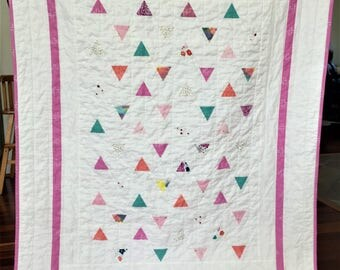 Spring Summer Baby Toddler Minimal Triangles Quilt Blanket Girl Modern Patchwork  Pink Purple Green Blue White Gold Floral Bright Colorful