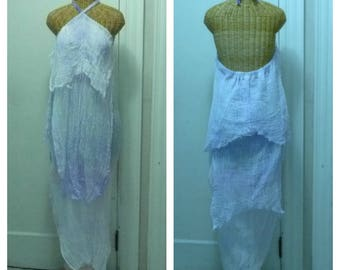 Lavender Halter Maxi Dress Backless Beach Hand Dyed One Size Womens Cotton Gauze Plus Mermaid