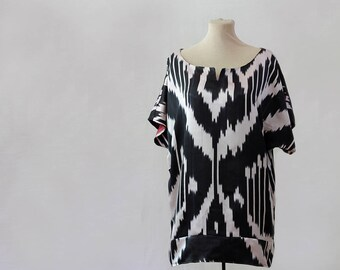 b&w silk blouse, black and white ikat top, kimono sleeve blouse, boatneck blouse, boat neck tunic silk, handloomed silk, bateau blouse ikat