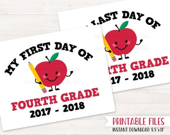 PRINTABLE First Day of FOURTH GRADE Sign, First Day of School Sign, Back to School Printables Sign, Last Day of School Sign Instant Download