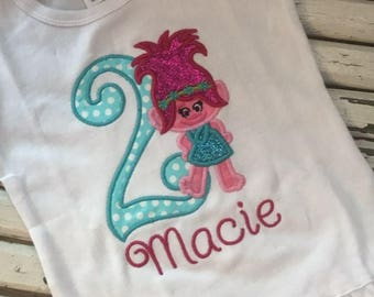 Poppy inpired birthday shirt with number