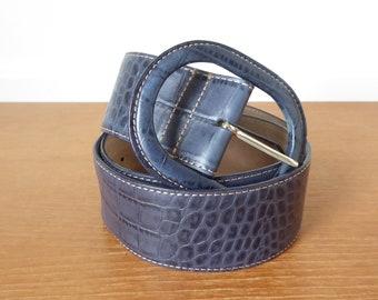 Wide blue alligator leather belt, size large