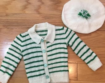70s Baby Girl Cream and Green Stripe Acrylic Cardigan Sweater with Matching Beret, Size 0 to 6 months