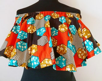 SEKAI - Off Shoulder Top - Bardot Top - African Print Top - Orange Star Print - African Clothing by Afrocentric805