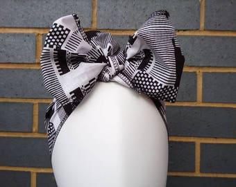 Headtie - African Headwraps - African Print Headtie - African Headgear - Headbands - Black/White Kente - Hair Accessories by Afrocentric805