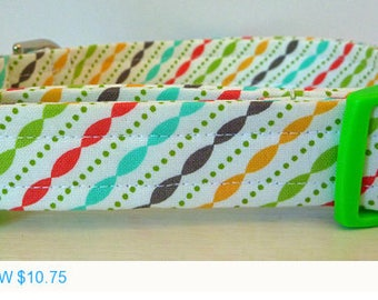 """Sale - 50% Off Unisex Modern Stripes Dog Collar in Lime Green Orange Brown Turquoise & Red """"Andy"""""""