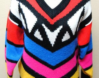 ON SALE Vintage Womens Avon Patterned Sweater Bright Colors Size Small 1970s