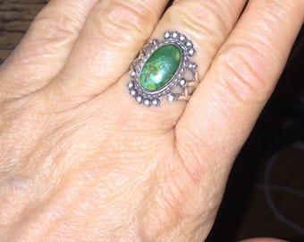 Native American Green Turquoise Ring Vintage Indian Turquoise Ring Size 7 3/4