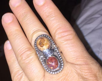 Native American Mexican Fire Opal Ring Vintage Indian Handmade Ring Size 8