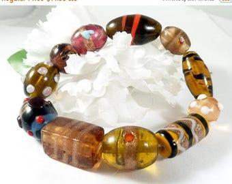 Multi Color Lampwork Bracelet, Statement Bracelet, Chunky Bracelet, Boho Chic Fashion Bracelet, Clearance Jewelry Lampwork Unique Bracelet