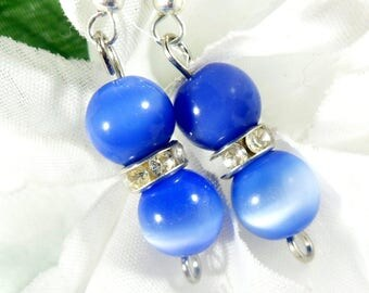 Cats Eye Blue Earrings, Fashion Earrings, Elegant Earrings, Boho Chic Womens Jewelry, Fashion Jewelry, Bohemian Earrings, Trending Jewelry