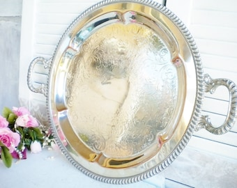 Vintage Silverplate Butlers Tray With Handles/Wedding Tray/Silverplate Over Copper Tray/Round Serving Tray/Tea Party/Home Decor