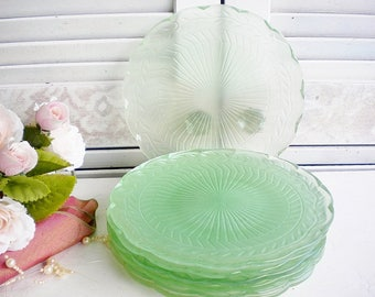 Vintage Green Glass Plates Set Of 6 With Thistle Pattern, Shabby Beach/Sea Glass Green Depression Glass Dessert Plates 8 Inch/Rustic Wedding