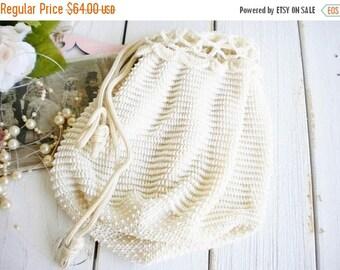 Sale Vintage Crochet, Beaded Wedding Bag In Ivory White/Bridal Drawstring Wedding Bag/Money Bag/Gatsby/Rustic Wedding/Shabby French/Somethin