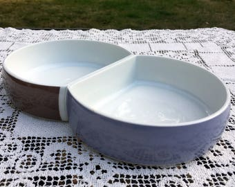 """BLOCK CHROMATICS/ 2 Section 10.5"""" Serving Dish/Beige Black Divided Vegetable Bowl/Made in Germany1970's Minimalist  Serveware"""