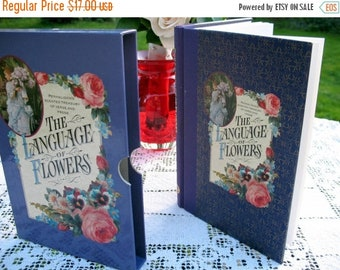 17% OFF SALE The Language Of  Flowers Romantic Gift Book Illustrated Victorian Theme Flower Lore Poetry Purple w/Slip Case By Shiela Pickles