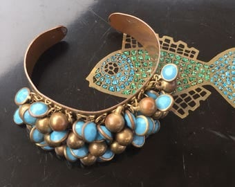Cha cha cuff bracelet, brass look with turquoise colored beads, boho chic, costume, 1970's era