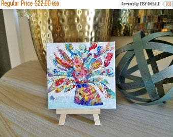 Clearance Flowers and Vase Mini Painting with wooden easel. Textured, colorful abstract flowers. Free Shipping