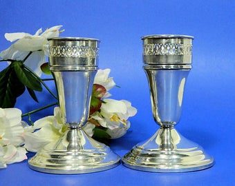 A Pair of Garden Silversmiths Ltd. Sterling Silver Candle Holders with Bobeche Cups