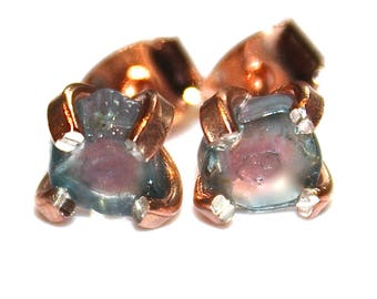 Tiny Blue Watermelon Tourmaline Stud Earrings Organic Tourmaline Rainbow Tourmaline Tourmaline Jewelry Paraiba Tourmaline Prong Set Earrings
