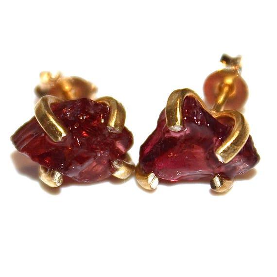 Color Change Raw Garnet Earring