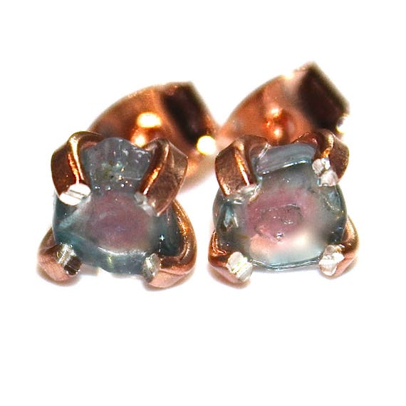 Tiny Blue Watermelon Tourmaline Stud Earrings in Rose Gold