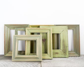 Vintage Green Picture Frames - Gallery of 7 - No Glass - Shabby Chic - Green Wedding