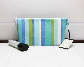 Stripe Makeup Bag - Medium Cosmetic Bag - Travel Toilet Bag - Aqua Makeup Pouch - Cosmetic Pouch - Fabric Makeup Pouch - Gift for Women