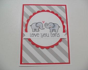 Anniversary/Love Card - Elephant Card - Love You Tons - BLANK Inside