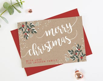 Personalised Christmas Cards Winter Blossom - Personalised Holiday Cards