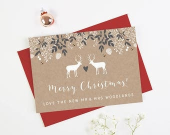 Personalised Christmas Card Kraft Stag - Personalised Holiday Cards