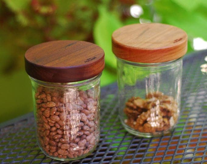 Wide Mouth Wooden Mason Jar Lids with Seal - Three pack - Your Choice of Wood.
