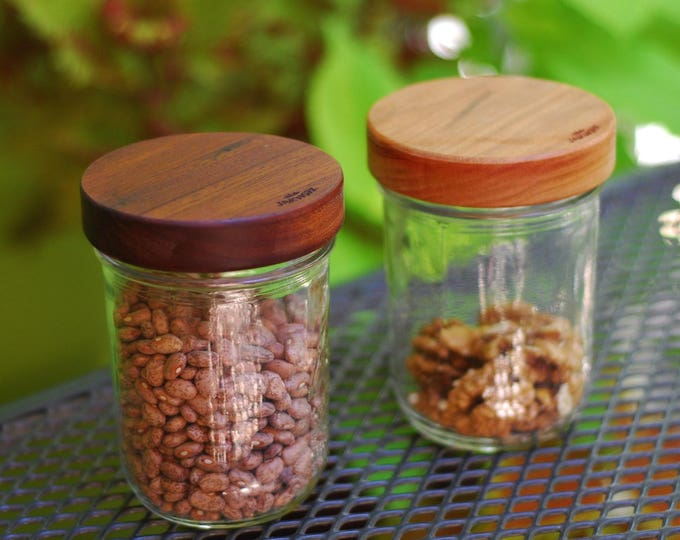 Wide Mouth (3) Wooden Mason Jar Lids with Seal - True screw top - Your Choice of Wood.