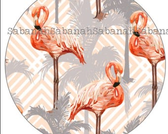 "Round glass cabochon, ""Flamingo Pink"" tropical"
