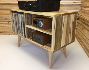 New Mid Century Modern Record Player Console, Turntable Stand, Stereo  Cabinet With LP Album