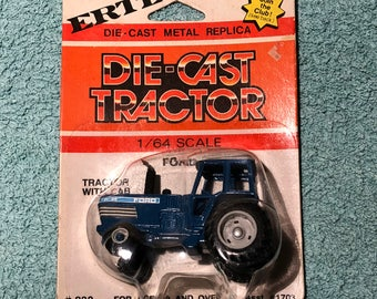 Vintage Ertl Die Cast 1/64 Scale Metal Replica Ford Tractor with Cab - New In Package #832 Asst #1703 - Made in Korea