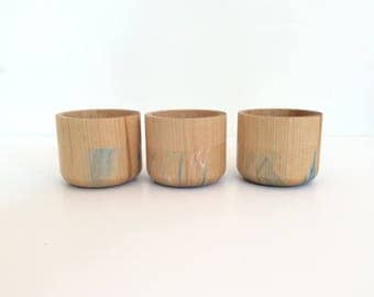 Small Wooden Cup by Willful, color dipped cup, rubber dipped, colorful office gift, mother's day gift, non slip cup